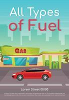 Todo tipo de plantilla de vector plano de cartel de combustible. recarga de gasolina para coches. diesel y petróleo para vehículos. folleto, folleto de diseño de concepto de una página con personajes de dibujos animados. folleto de gasolinera, folleto
