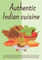 Plantilla de vector plano de cartel de cocina india auténtica. Folleto de especias hindúes tradicionales, folleto de diseño de concepto de una página con personaje de dibujos animados. Folleto de ingredientes de comidas orientales, folleto
