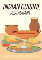 Indian cuisine restaurant poster flat vector template. Traditional hindu dishes, oriental meals cafe brochure, booklet one page concept design. Catering establishment flyer, leaflet