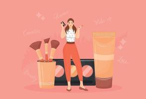 componen la ilustración de vector de concepto plano de artista. mujer con paleta de sombras de ojos y pinceles personaje de dibujos animados 2d para diseño web. tutorial de maquillaje, tienda de productos cosméticos idea creativa.