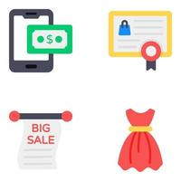 Online Shopping and Commerce Icon Set vector