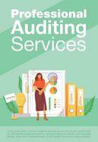 Professional auditing services poster flat vector template. Financial analysis, business analytics brochure, booklet one page concept design with cartoon characters. Accounting flyer, leaflet