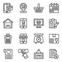 conjunto de iconos de compras y comercio vector