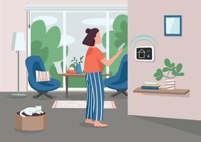 Smart home management panel flat color vector illustration. Young woman using smartphone 2D cartoon character with automated apartment on background. IOT technology. Domestic appliances remote control