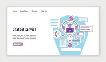 Chatbot service landing page flat silhouette vector template. Personal assistant homepage layout. Virtual communication one page website interface with cartoon outline character. Web banner, webpage