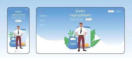 Debt repayment adaptive landing page flat color vector template. Taxes evasion mobile and PC homepage layout. Financial problem one page website UI. Economic burden webpage cross platform design