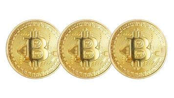 Gold coins bitcoin isolated on white background photo