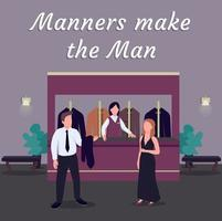 Casino social media post mockup. Manners make man phrase. Web banner design template. Luxury establishment booster, content layout with inscription. Poster, print ads and flat illustration vector