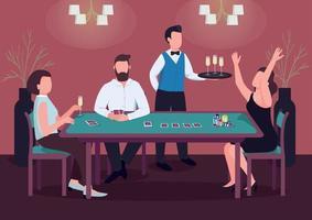 Ilustración de vector de color plano de casino. tres personas juegan al póquer. mujer gana el juego de cartas en la mesa verde. fichas para hacer apuestas. Jugador de personajes de dibujos animados en 2D en el interior con el camarero en el fondo