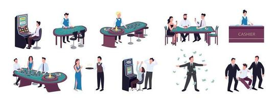 Gambler flat color vector faceless characters set. Players betting on red and black in roulette game. Poker and blackjack table. Slot machine. Casino isolated cartoon illustrations on white background