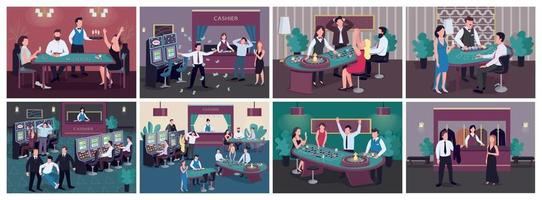 Casino flat color vector illustrations set. Woman win betting on red in roulette. Man get cash prize from slot machine. Luxury entertainment establishment. Gambler 2D cartoon characters in interior
