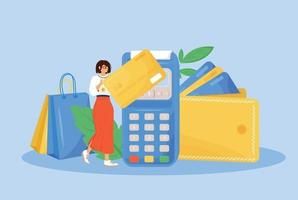 Digital payment flat concept vector illustration. Woman paying with credit card 2D cartoon character for web design. E payment system, modern financial technology, cashless payment creative idea