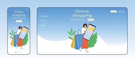 Online shopping adaptive landing page flat color vector template. Internet store mobile and PC homepage layout. Marketplace one page website UI. E commerce webpage cross platform design
