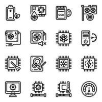 conjunto de iconos de servidor y sistema vector