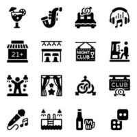 Night club Icon Set vector