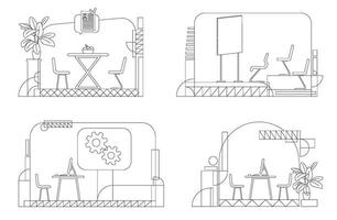 Company interior outline vector illustrations set. Empty corporate rooms contour composition on white background. Lounge zone, briefing room, and business offices simple style drawings pack