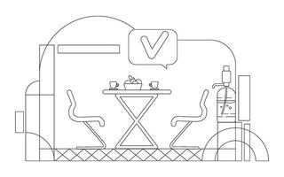 Ilustración de vector de contorno de cafetería corporativa. Composición de contorno de zona de salón de oficina vacía sobre fondo blanco. lugar de reunión no formal y bocadillo con marca de verificación, dibujo de estilo simple