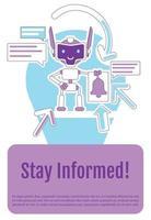 Plantilla de vector de silueta plana de cartel de bot de notificación en línea. Manténgase informado folleto, folleto de diseño de concepto de una página con personajes de dibujos animados. Folleto de asistente virtual, folleto con espacio de texto.