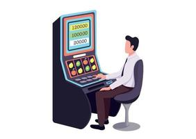 Gambler flat color vector faceless character. Player make bet. Person playing game of chance to win lottery. Male caucasian sit in casino. Man at fruit machine isolated cartoon illustration