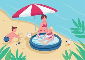 Mother with children on sand beach flat color vector illustration. Boy building sandcastle, girl swimming in inflatable pool. Family summer activity 2D cartoon characters with seascape on background