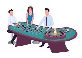 Gambler flat color vector faceless characters. Man put bet on red. Woman stake on black. Male gambler with chips. People play gamble at roulette table. Casino isolated cartoon illustration