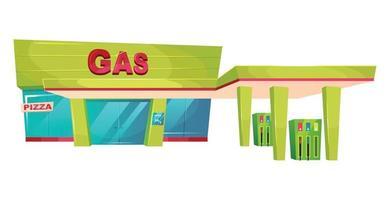 Ilustración de vector de dibujos animados exterior de gasolinera. Objeto de color plano frontal de tienda de recarga de gasolina. Bomba de aceite y gasolina para transporte. Fachada del edificio de combustible de coche aislado sobre fondo blanco.