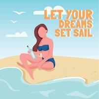 Woman sending letter in bottle social media post mockup. Let your dreams set sail phrase. Web banner design template. Booster, content layout with inscription. Poster, print ads and flat illustration vector