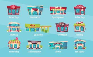 Shop front flat color vector objects set. Barber salon. Supermarket exterior. Sporting goods. Gas station. Law agency. Flower shop. Storefront 2D isolated cartoon illustrations on blue background