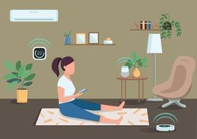 Smart climate control flat color vector illustration. Girl controlling air conditioner and vacuum cleaner with smartphone. Woman working out 2D cartoon character with living room on background