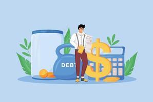 Tax calculator flat concept vector illustration. Financier, economist, taxpayer studying bills 2D cartoon character for web design. Financial management, economic literacy, budget audit creative idea