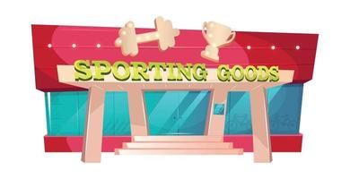 Sporting goods cartoon vector illustration. Fitness gear shop front. Gym exterior flat color object. Supermarket of sportswear for exercise. Sport equipment store exterior isolated on white background
