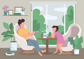 Automated domestic appliances flat color vector illustration. People using smart speaker and vacuum cleaner. Child and man with smartphone 2D cartoon characters with living room on background