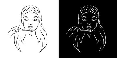 mujer cepillarse los dientes contorno retrato ilustración vectorial. Cara de niña y arte lineal realista de cepillo de dientes. Señora diaria rutina higiénica de la mañana carácter de esquema sobre fondos en blanco y negro