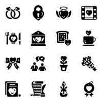 conjunto de iconos de amor y romance