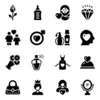 día de la madre y conjunto de iconos de elementos vector