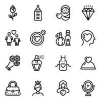conjunto de iconos del día de la madre vector
