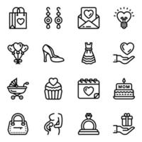 Ladies Fashion and Accessories Icon Set vector