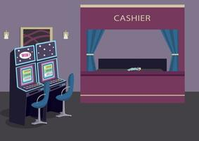 Slot machines row flat color vector illustration. Gambling establishment. Luxury hotel entertainment. Game of chance to win money. Casino room 2D cartoon interior with cashier counter on background