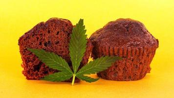 Brownie cake and green leaf marijuana on a yellow background photo