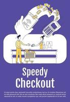 Speedy checkout poster flat silhouette vector template. Mobile payment. Brochure, booklet one page concept design with cartoon characters. Contactless payment system flyer, leaflet with text space
