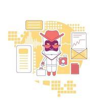 Ilustración de vector de concepto de delgada línea de bot de espionaje. recopilación de información personal. robar datos del sitio web. Bad robot personaje de dibujos animados 2d para diseño web. idea creativa de malware malicioso