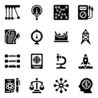 laboratorio de física y conjunto de iconos de educación vector