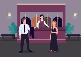 Cloakroom flat color vector illustration. Man in formal suit. Woman in elegant dress. Casino hall. Establishment lobby. Wardrobe 2D cartoon characters in interior with receptionist on background