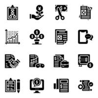 off Investment and Business Reports Icon Set vector