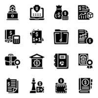 conjunto de iconos de estrategia y acuerdo financieros vector