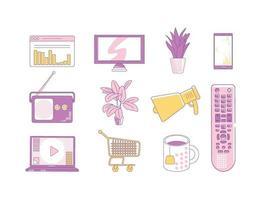 Conjunto de objetos lineales morados y amarillos. publicidad de marca, paquete de símbolos de línea fina de marketing. Dispositivos electrónicos, plantas de interior, taza de té, carro y página web ilustraciones de contorno aisladas sobre fondo blanco. vector