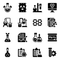 Chemistry Lab Elements Icon Set vector