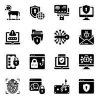 Cybercrime and Insecurity Icon Set vector