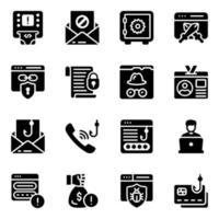 Cybercrime and Phishing Icon Set vector