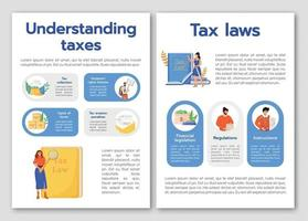 Understanding taxes flat vector brochure template. Tax laws flyer, booklet, printable leaflet design. Taxation policy magazine page, cartoon annual reports, infographic posters with text space
